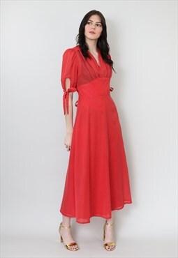 70's Red Vintage Ladies Dress White Polk Dot Mark Wald Midi