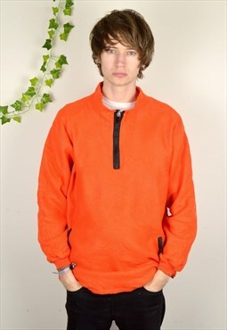 90s Vintage Neon Orange Oversized 1/4 Zip Fleece