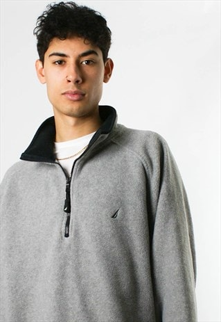 VINTAGE NAUTICA 1/4 ZIP FLEECE SWEATSHIRT, GREY
