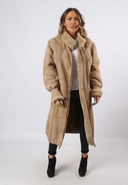 Sheepskin Shearling Suede Long Coat UK 14 (LHCH)