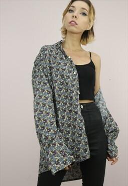 Vintage 80s 90s Oversized Patterned Shirt
