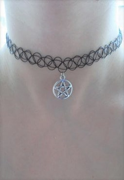 black tattoo choker with pentagram charm