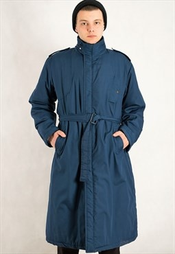 Vintage 90s men's sapphire blue long trench coat