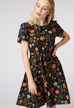 Princess Highway Black Floral Tie Dress