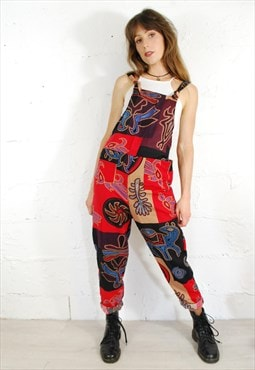 Ethnic Cotton Long Patchwork Dungarees
