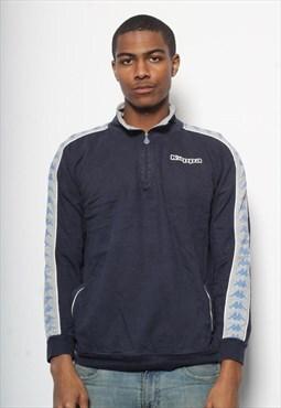 Vintage Kappa 1/4 Zip Logo Sweatshirt Blue