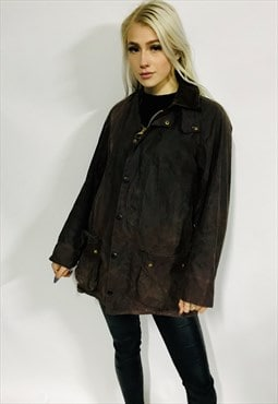 vintage BARBOUR wax jacket brown oversized M c38/40 check