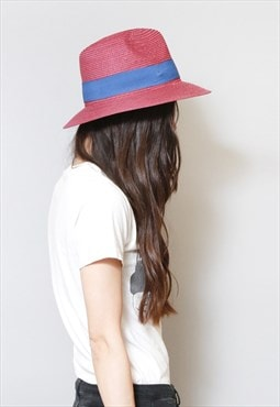 Vintage 1970's Style Red And Blue Straw Fedora