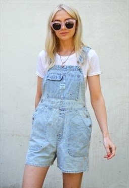 Vintage 90s Light Blue Denim Short Dungarees