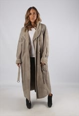 Vintage Sheepskin Leather Shearling Coat Long UK 20 (9AI)