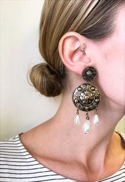 1990s Vintage Antiqued Gold with Faux Pearl Drops