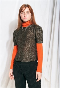 Vintage top 60s puff sleeve metal glitter gold blouse