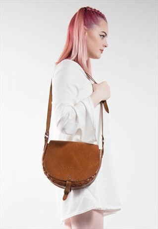 VINTAGE 70'S BROWN LEATHER SADDLE BAG