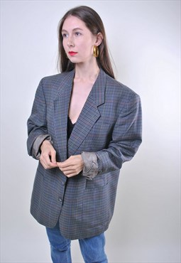 80s oversize gray plaid women blazer, ONE SIZE