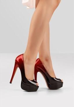 Peep Toe Platform Stiletto High Heel Pumps Two-tone