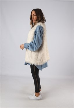 Faux Fur Gilet Waistcoat Oversized Jacket Long UK 14  (HKDJ)