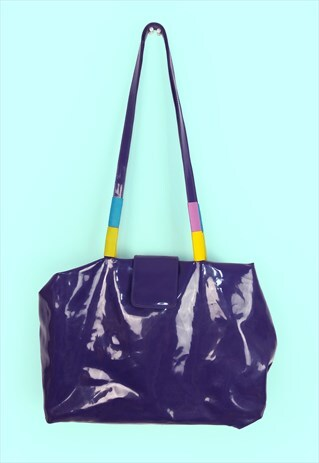 VINTAGE 90'S PATENT SHINY PVC PURPLE SHOULDER BAG TOTE