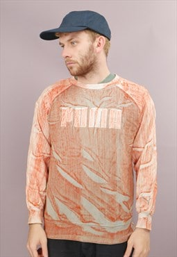 Vintage Puma Sweatshirt in Orange Tie Dye with Logo