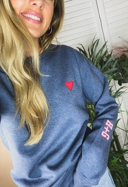 'Love' Personalised Initial Sleeve Organic Sweatshirt
