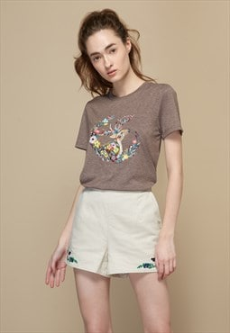 Forest Theme Embroidered T-Shirt
