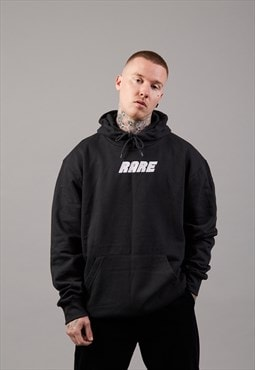 Oversized Hoodie In Black With White Embroidery