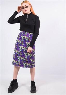 Vintage 90's Floral Purple Midi Skirt