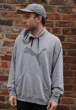 Vintage Puma Hoodie In Grey With Logo