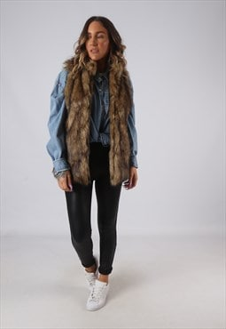 Faux Fur Gilet Waistcoat Jacket Long UK 8  (AKDL)