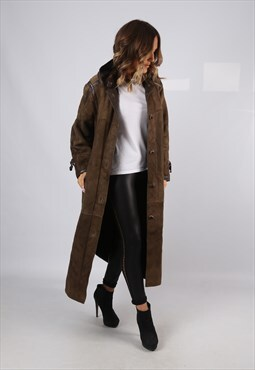 Sheepskin Suede Leather Shearling Coat UK 14  (GJ2W)