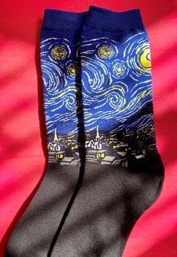 Vintage Inspired Socks Van Gogh Starry Night in Blue Black