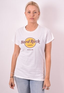 Hard Rock Cafe Womens Vintage T-Shirt Top Large White 90s