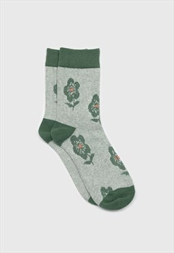 Green jacquard flower socks