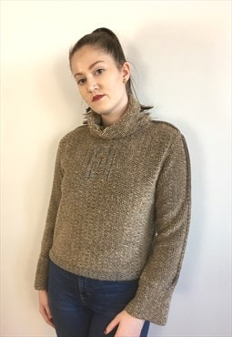 Womens vintage Fendi jumper in beige brown turtle neck top