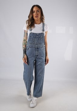 Vintage Denim Dungarees Wide Leg PETITE UK 10 Small (HD1M)