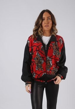 Shell Bomber Jacket Patterned Oversized Print UK 12  (K3Z)