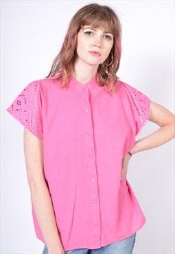 Vintage 90's Button-Through Blouse T Shirt Pink