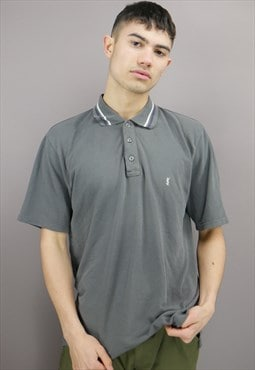 Vintage Striped Yves Saint Laurent Polo Shirt in Grey