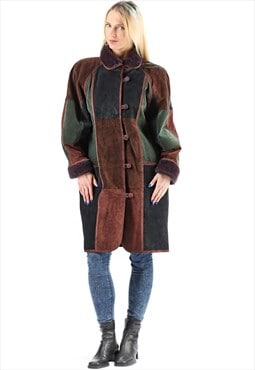 Sheepskin Coat Colorblock Suede Coat