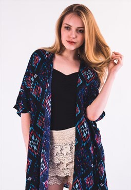 Blue Tile Print Cotton Kaftan Cardigan