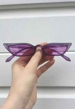 Womens Vintage style 90s clear purple thin pointy sunglasses