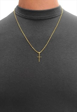 "20"" Mini Cross Gold Plated Pendant Necklace Chain"