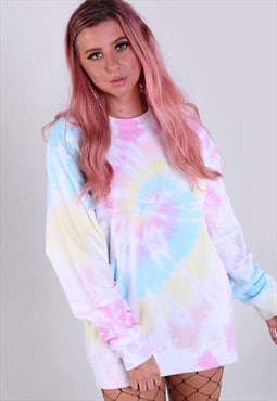 Oversized Sweatshirt in Pastel Rainbow Tie Dye