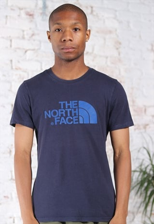 Vintage The North Face Big Logo T-Shirt Blue