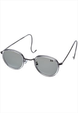 Retro Round Sunglasses with Cable Temples in Clear