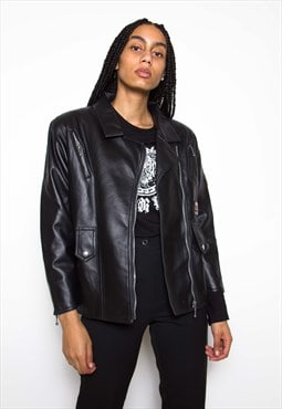 Vintage 90s Black Faux Leather Jacket ID:1572