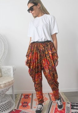 trousers printed draped effect