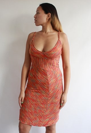 MULTI ORANGE KNIT CAMI DRESS