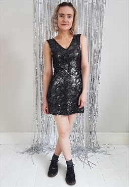 Vintage 90's Silver Stretch Sequins Micro Mini Dress