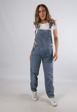 Vintage Denim Dungarees Wide Tapered Leg UK 8 XS (93E)