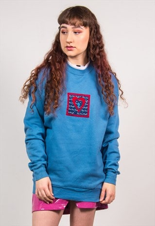 VINTAGE 90'S BLUE HEART EMBROIDERED PRINT SWEATSHIRT